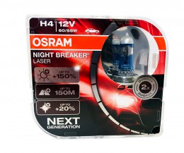 Автолампы Osram Night Breaker Laser H4 +150 (duobox) 64193NL-HCB