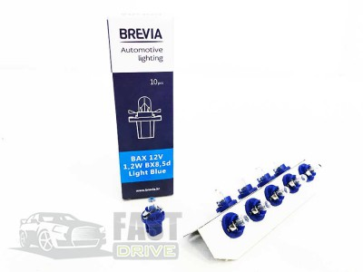Brevia Автолампа Brevia BAX 12V 1.2W B8.5D Light Blue (приборная)